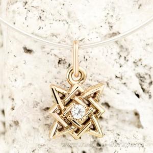 Звезда Руси, квадрат Сварога из золота с фианитом