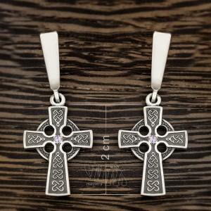 Серьги кельтский крест из серебра